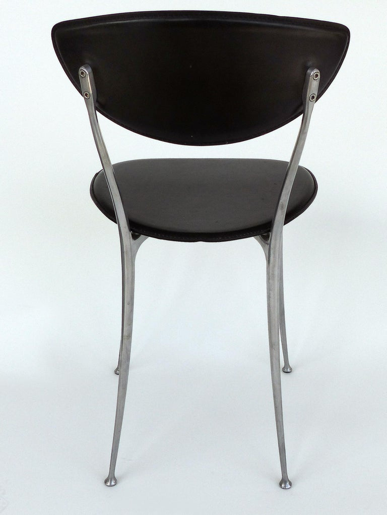 Contemporary Set of 8 Arper Leather and Aluminum Dining Chairs, Italy For Sale