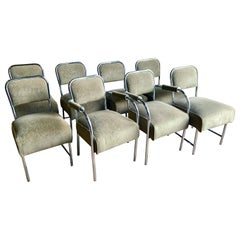 Set of 8 Art Deco Style Chrome Dining Chairs