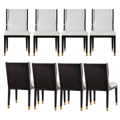 Set of 8 Art Deco Style Dining Chairs; French Lacquer/Full Grain Leather