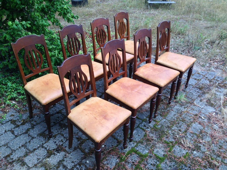 Early 20th Century Set of 8 Art Nouveau Chairs in Mahogany and Light Oxhide Seats, 1910s-1920s For Sale