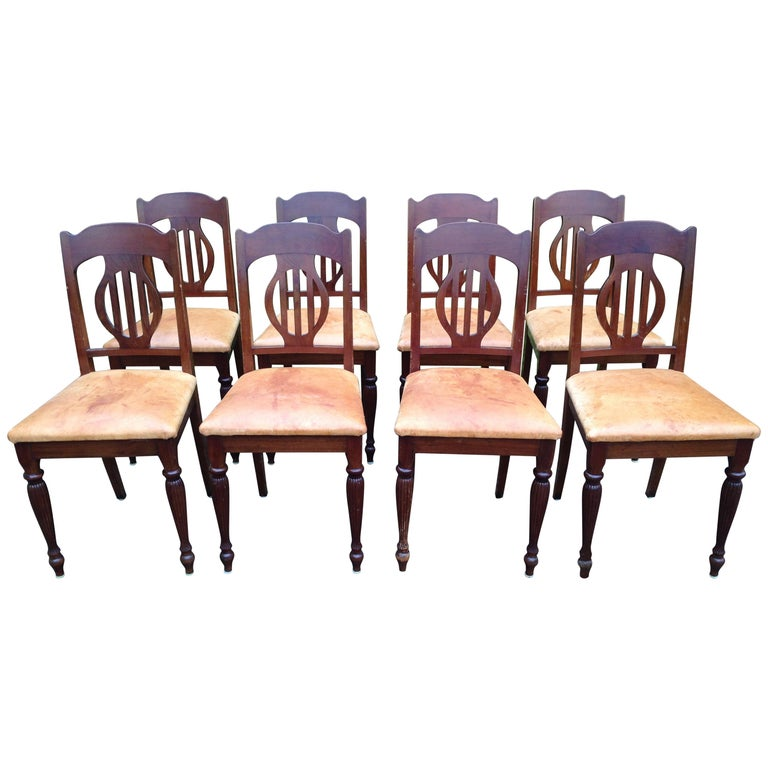 Set of 8 Art Nouveau Chairs in Mahogany and Light Oxhide Seats, 1910s-1920s For Sale