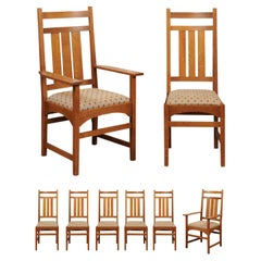 Set of 8 Arts & Crafts Stickley Mission Collection Oak Dining Chairs