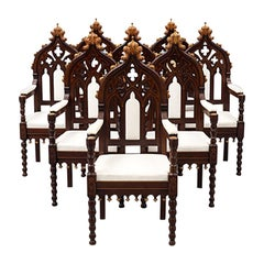 Set of 8 Austrian Néo Gothique Armchairs from 1860