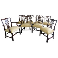 Set of 8 Baker Solid Mahogany Carved Chippendale Style Dining Chairs