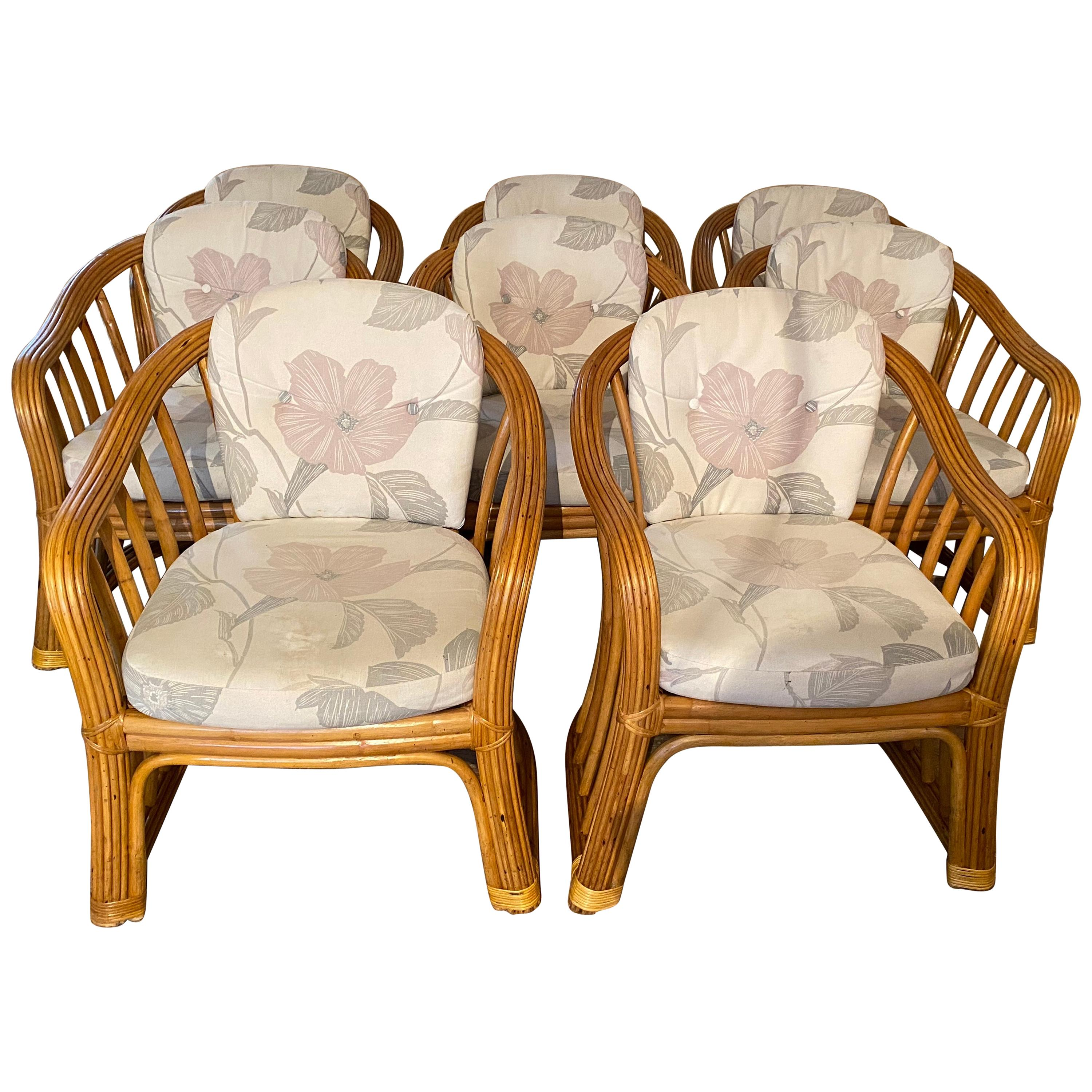 Set of 8 Bamboo Rattan Dining Chairs