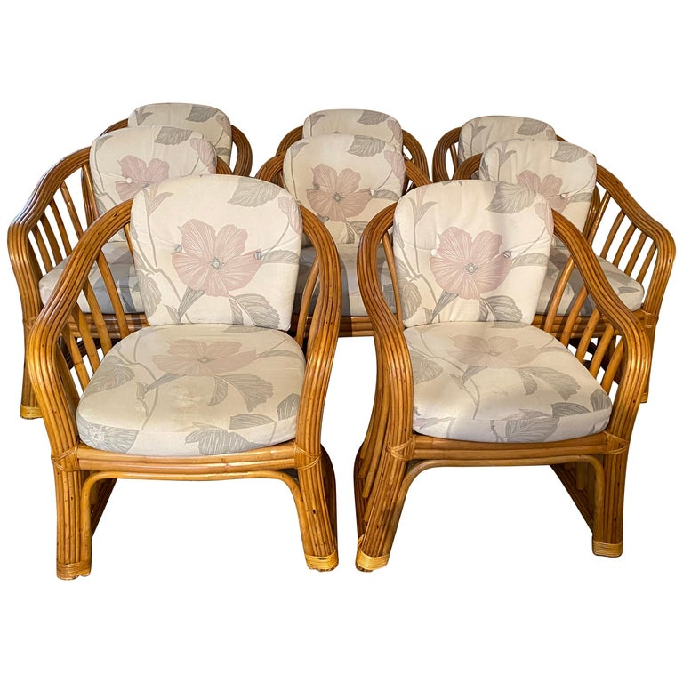 Set of 8 Bamboo Rattan Dining Chairs For Sale