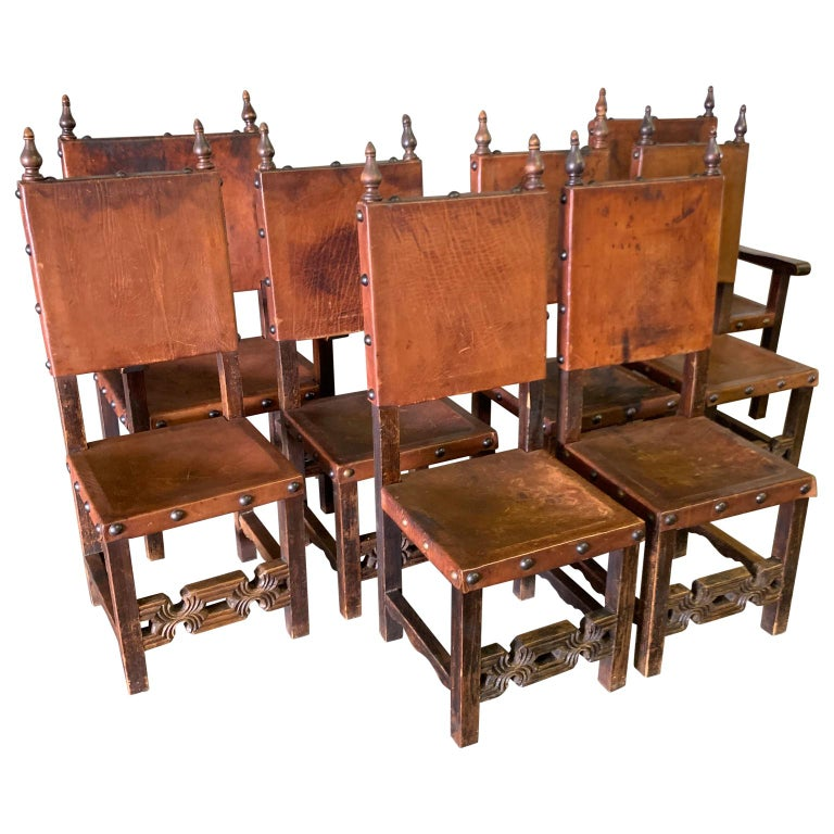 Set of 8 Baroque Style Leather Dining Room Chairs 2