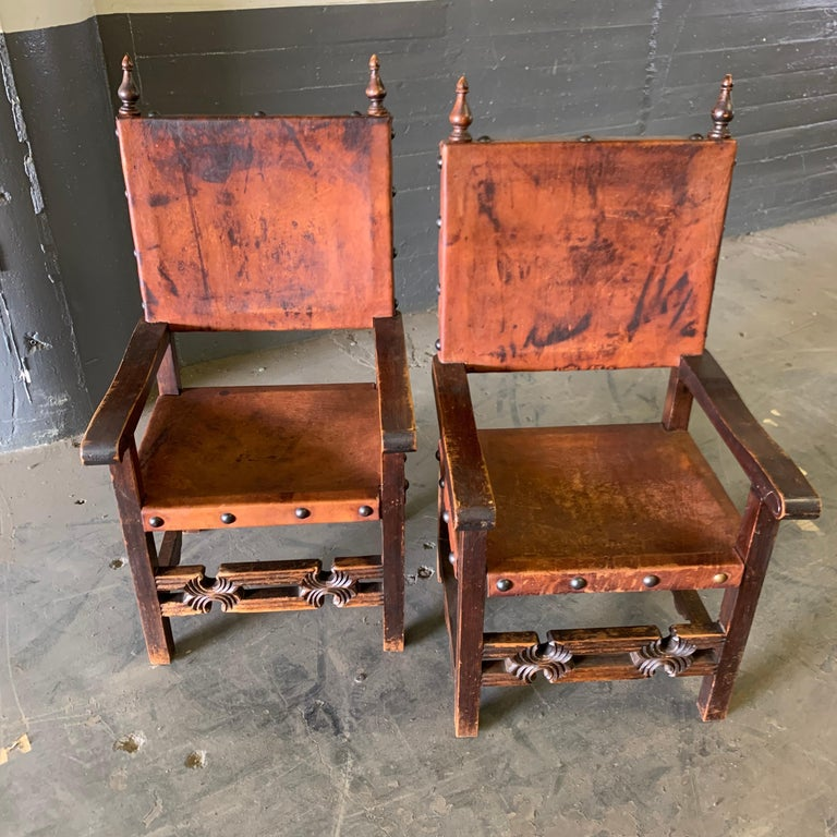 Set of 8 Baroque Style Leather Dining Room Chairs 20