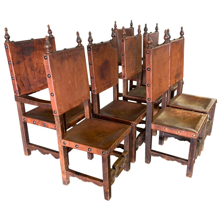 Set of 8 Baroque Style Leather Dining Room Chairs 3