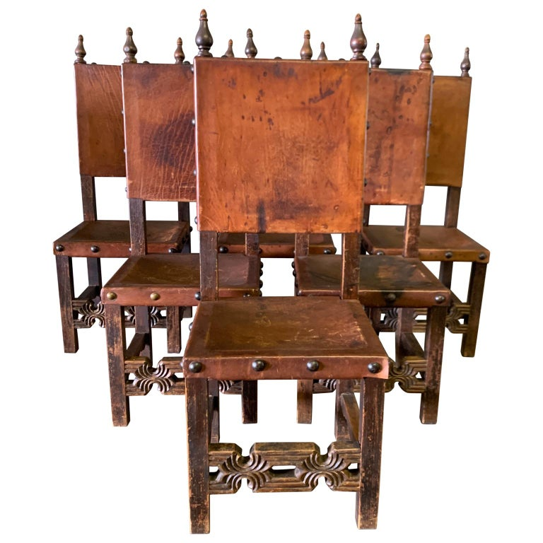 Set of 8 Baroque Style Leather Dining Room Chairs 4