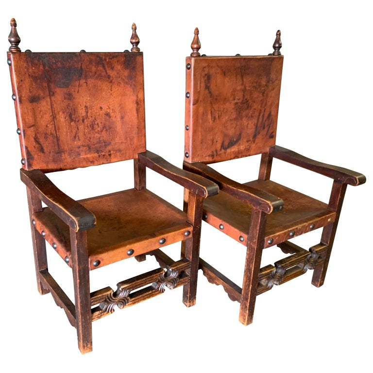 Set of 8 Baroque Style Leather Dining Room Chairs 6