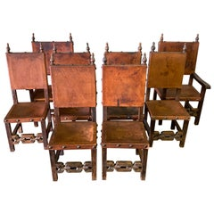 Set of 8 Baroque Style Leather Dining Room Chairs