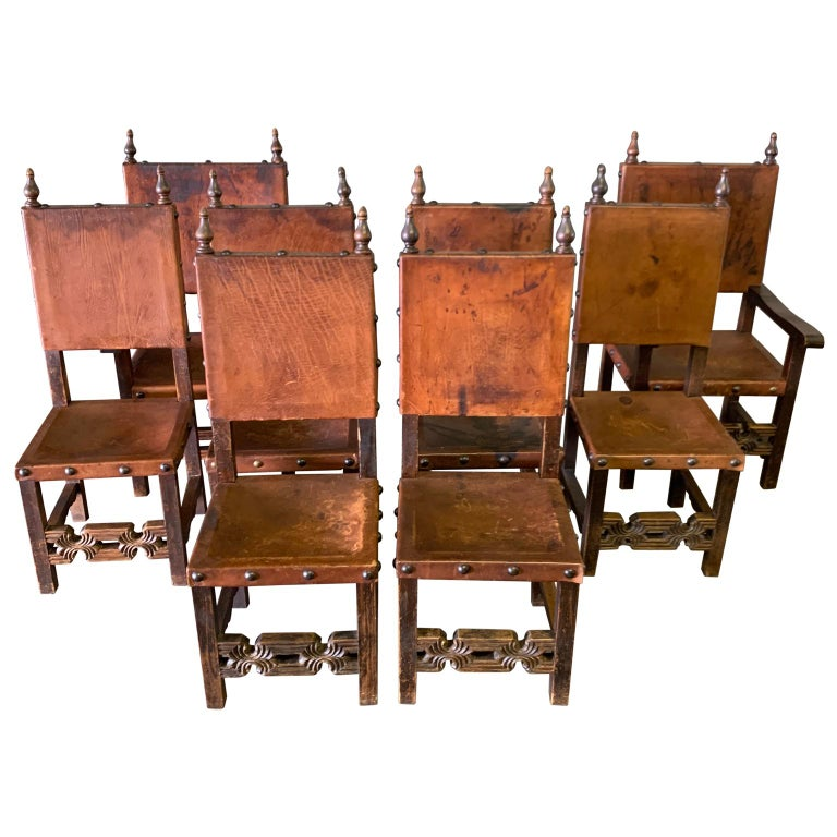 Set of 8 Baroque Style Leather Dining Room Chairs 1