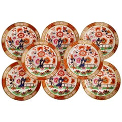Set of 8 Barr Flight & Barr Porcelain Plates, Imari Fence, Regency, 1811-1813