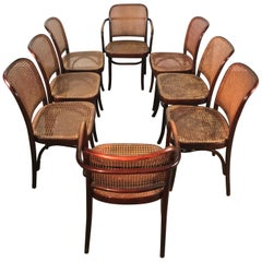Set of 8 Bentwood and Cane Josef Hoffmann Prague Chairs FMG Poland, Thonet
