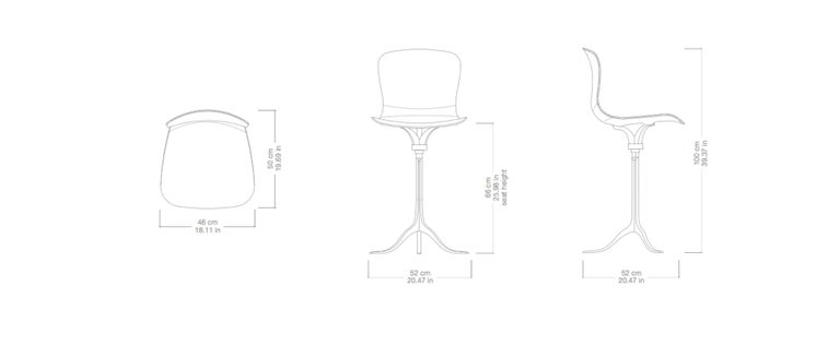 Set of 8 Bespoke Counter-Height Chairs, Solid Brass and Leather by P. Tendercool For Sale 4