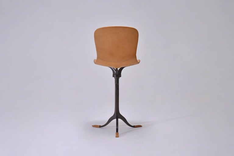 Cast Set of 8 Bespoke Counter-Height Chairs, Solid Brass and Leather by P. Tendercool For Sale