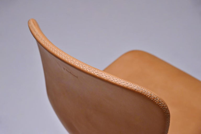 Set of 8 Bespoke Counter-Height Chairs, Solid Brass and Leather by P. Tendercool For Sale 1