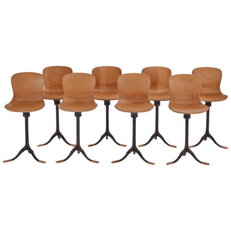 Set of 8 Bespoke Counter-Height Chairs, Solid Brass and Leather by P. Tendercool For Sale