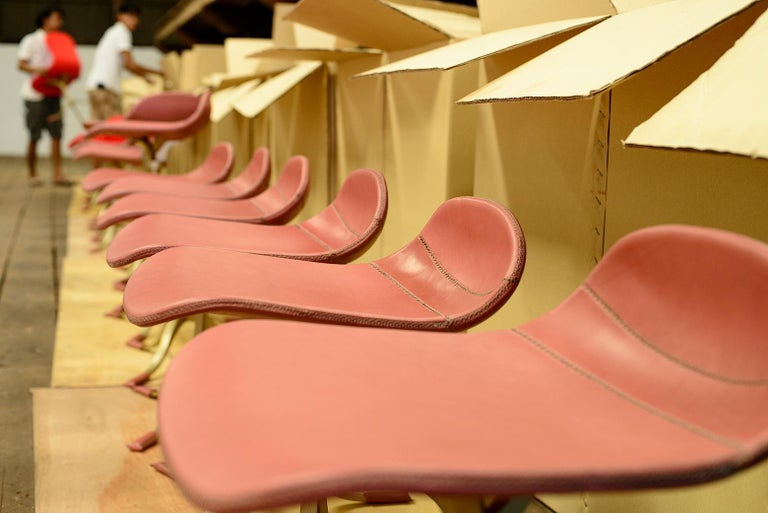 Set of 8 Bespoke Leather Chairs with Hand-Cast Brass Base by P. Tendercool For Sale 8