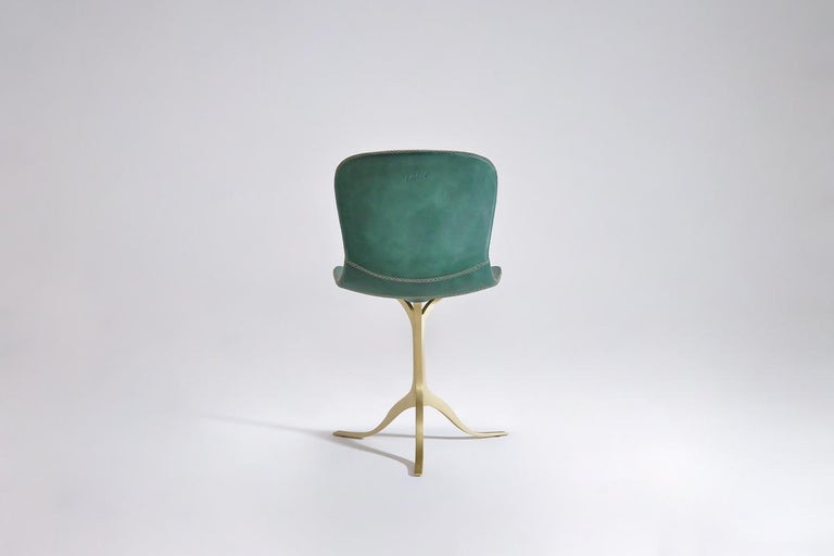 Thai Set of 8 Bespoke Leather Chairs with Hand-Cast Brass Base by P. Tendercool For Sale