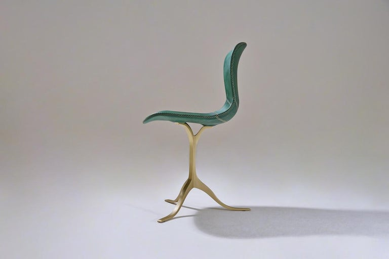 Contemporary Set of 8 Bespoke Leather Chairs with Hand-Cast Brass Base by P. Tendercool For Sale