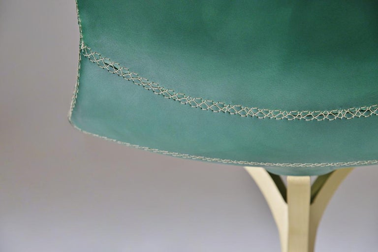 Set of 8 Bespoke Leather Chairs with Hand-Cast Brass Base by P. Tendercool For Sale 3