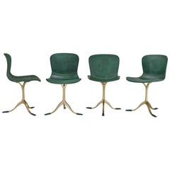 Set of 8 Bespoke Leather Chairs with Hand-Cast Brass Base by P. Tendercool