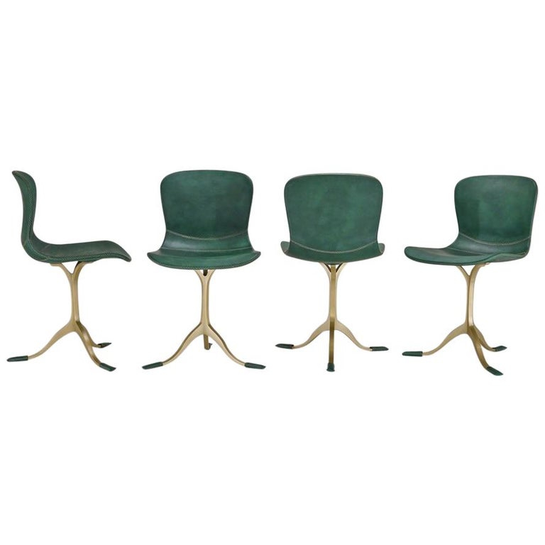 Set of 8 Bespoke Leather Chairs with Hand-Cast Brass Base by P. Tendercool For Sale