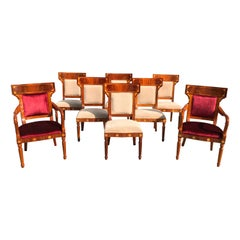 Set of 8 Biedermeier Style Flame Mahogany Dining Chairs, circa 1910s