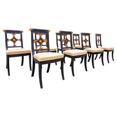 Set of 8 Black and Gold Dining Chairs, Empire Style, Belgium