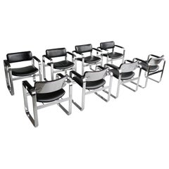 Set of 8 Black Executive Armchairs by Eero Aarnio for Mobel, Italia, '1968'