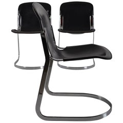 Set of 8 Black Leather Dining Chairs by Willy Rizzo for Cidue, 1970s