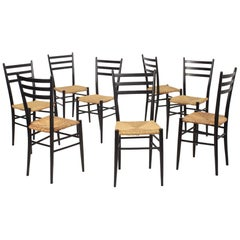 Set of 8 Black Wood and Straw Italian Chairs, 1960s