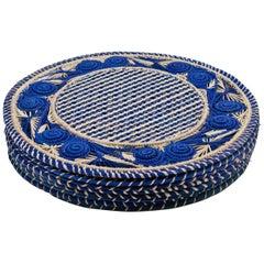 Set of 8 Blue and Cream Round Iraca Fibre Placemats