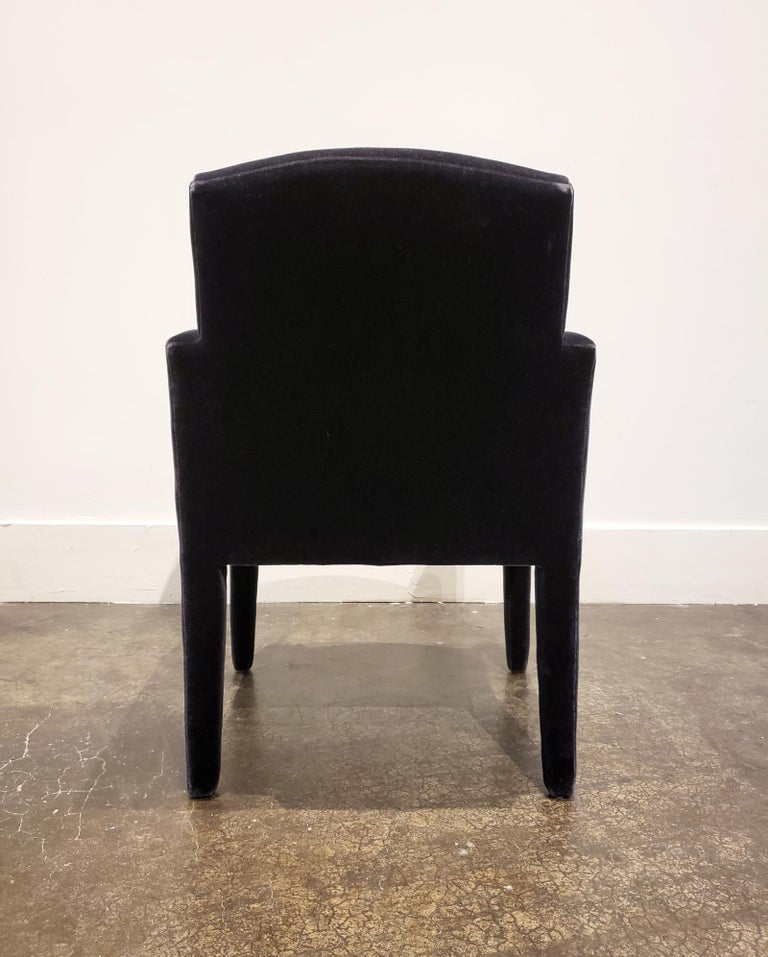 Set of 8 Blue Mohair Dining Chairs from Donghia For Sale 7