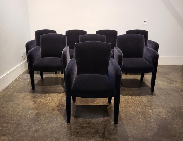 Set of 8 Blue Mohair Dining Chairs from Donghia In Good Condition For Sale In Dallas, TX