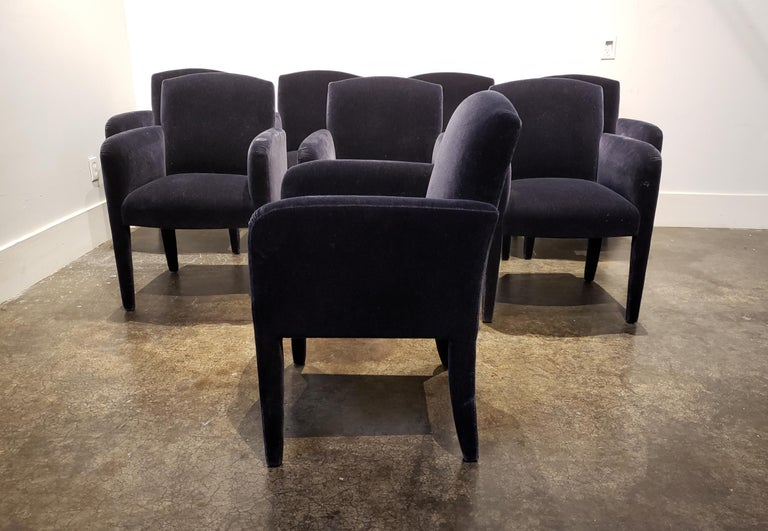 Set of 8 Blue Mohair Dining Chairs from Donghia For Sale 1