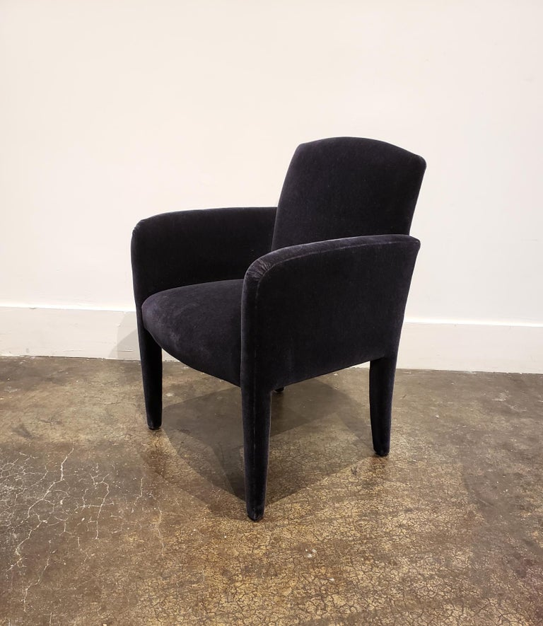 Set of 8 Blue Mohair Dining Chairs from Donghia For Sale 2