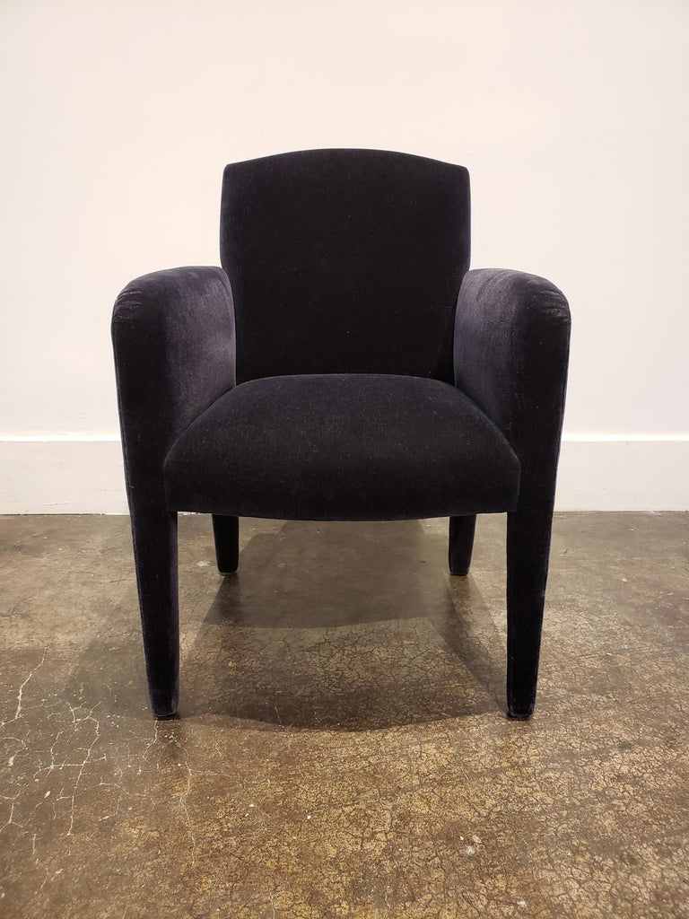 Set of 8 Blue Mohair Dining Chairs from Donghia For Sale 3