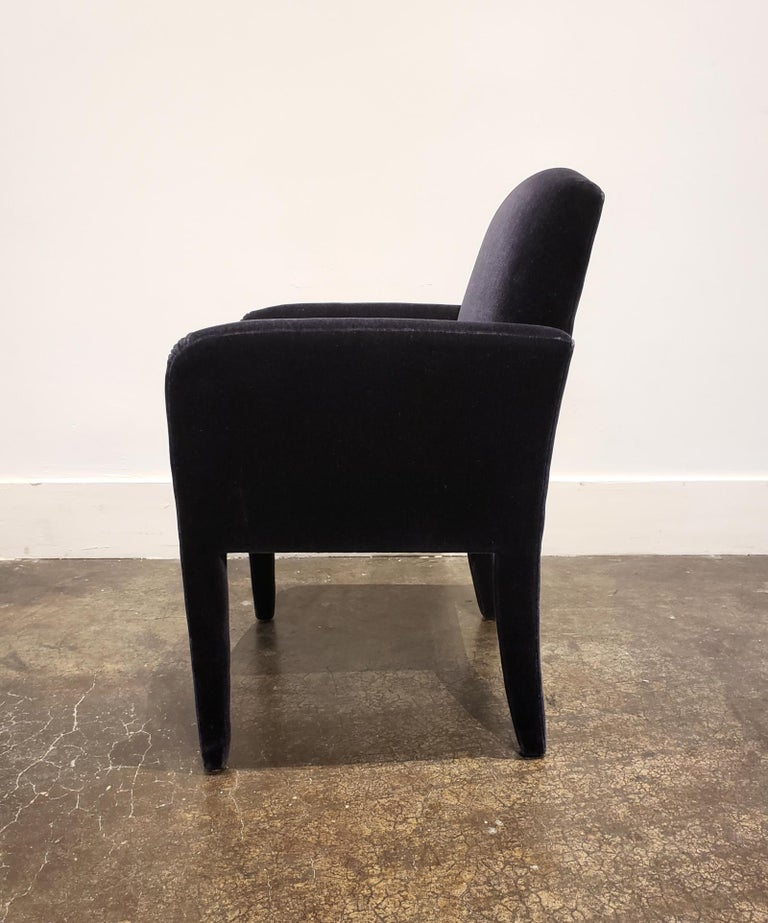 Set of 8 Blue Mohair Dining Chairs from Donghia For Sale 4