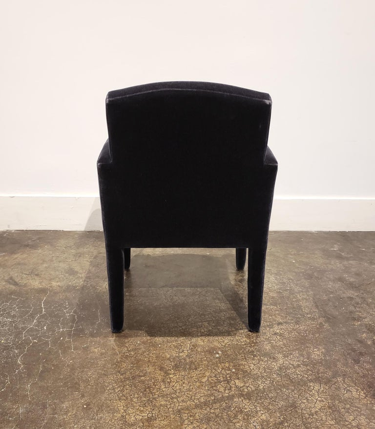Set of 8 Blue Mohair Dining Chairs from Donghia For Sale 5