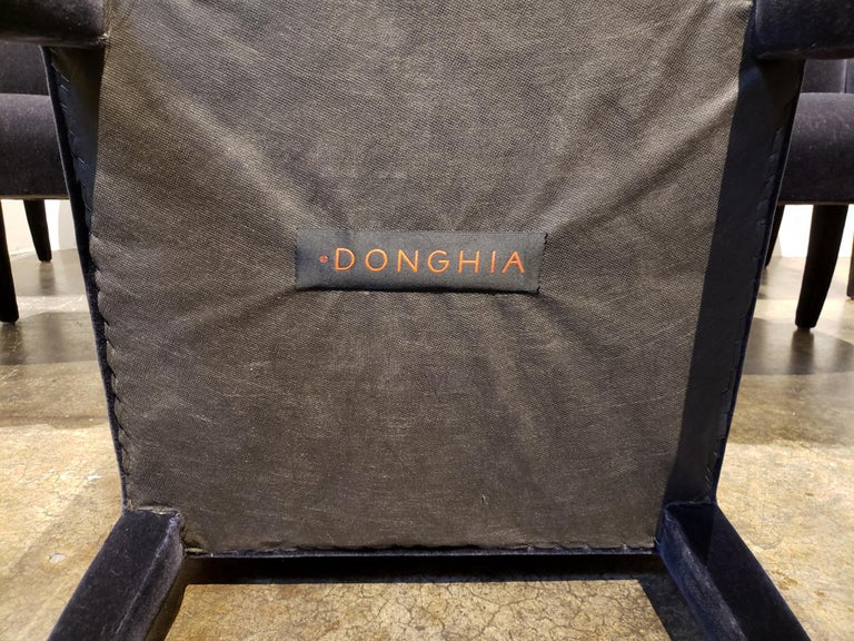 Set of 8 Blue Mohair Dining Chairs from Donghia For Sale 6