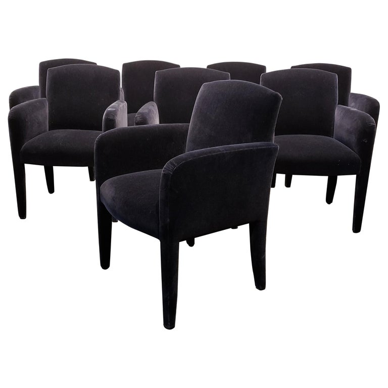 Set of 8 Blue Mohair Dining Chairs from Donghia For Sale