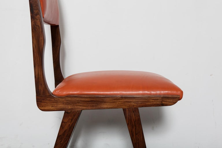 Set of 8 Brazilian Solid Rosewood Tall Back Dining Chairs in Leather For Sale 4