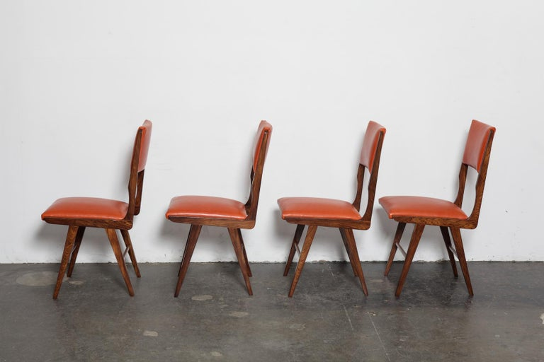 Mid-Century Modern Set of 8 Brazilian Solid Rosewood Tall Back Dining Chairs in Leather For Sale