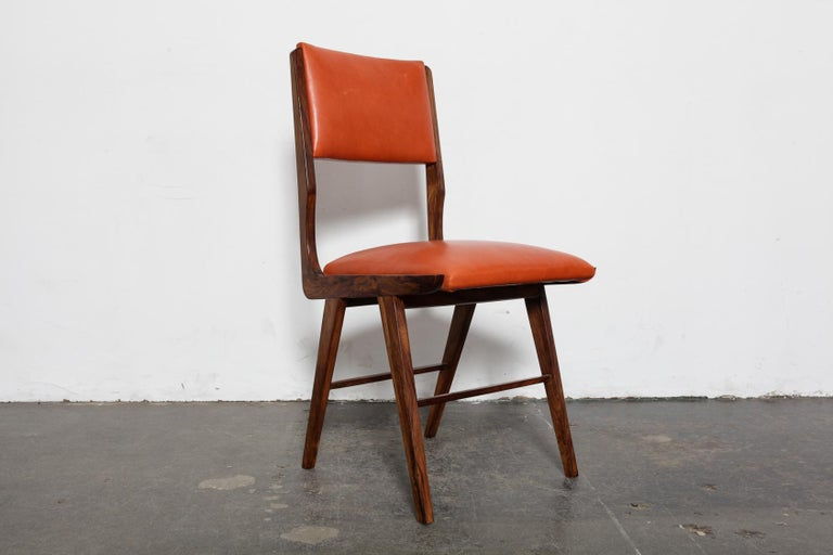 Set of 8 Brazilian Solid Rosewood Tall Back Dining Chairs in Leather In Good Condition For Sale In North Hollywood, CA