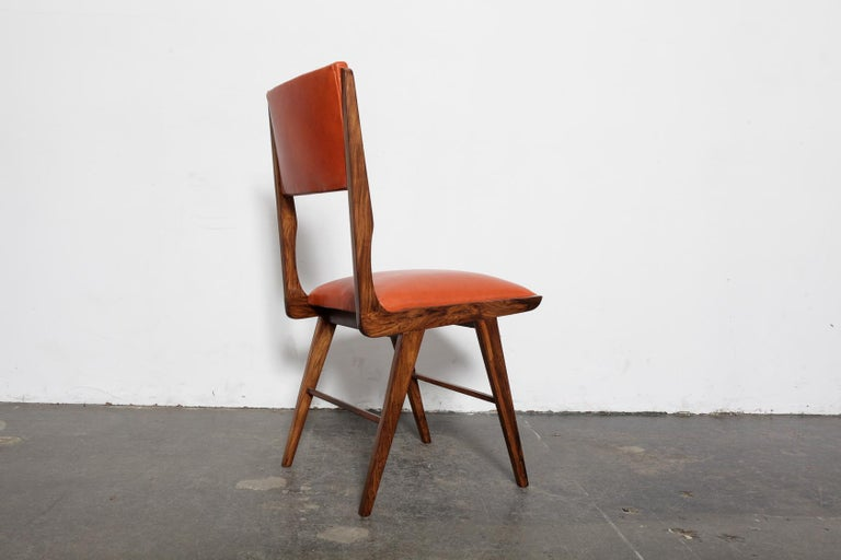 Mid-20th Century Set of 8 Brazilian Solid Rosewood Tall Back Dining Chairs in Leather For Sale