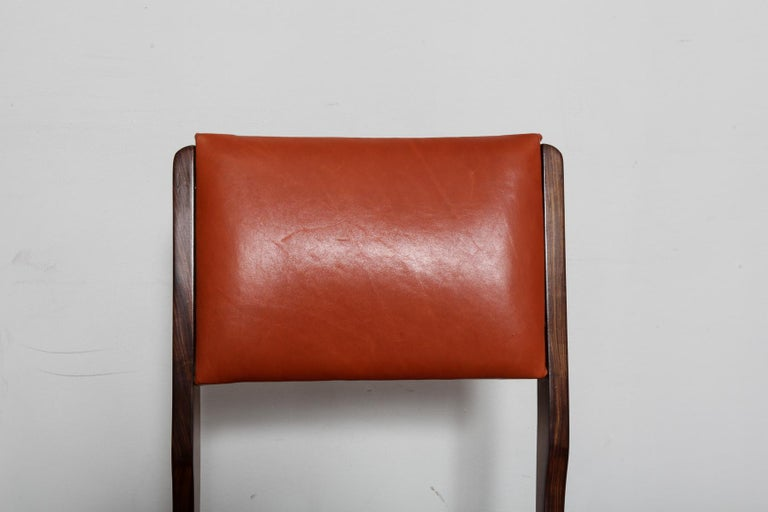 Set of 8 Brazilian Solid Rosewood Tall Back Dining Chairs in Leather For Sale 1