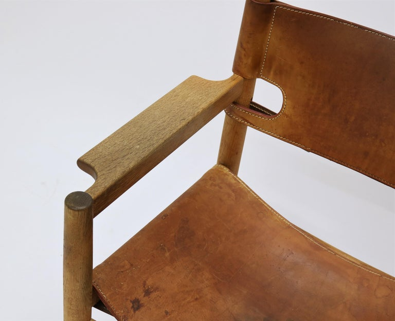 Danish Set of 8 Børge Mogensen Armchairs in Oak and Patinated Saddle Leather For Sale